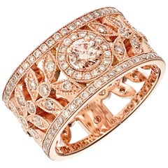 Colombine Champagne Diamond Rose Gold Lace Ring Designed by Valerie Danenberg