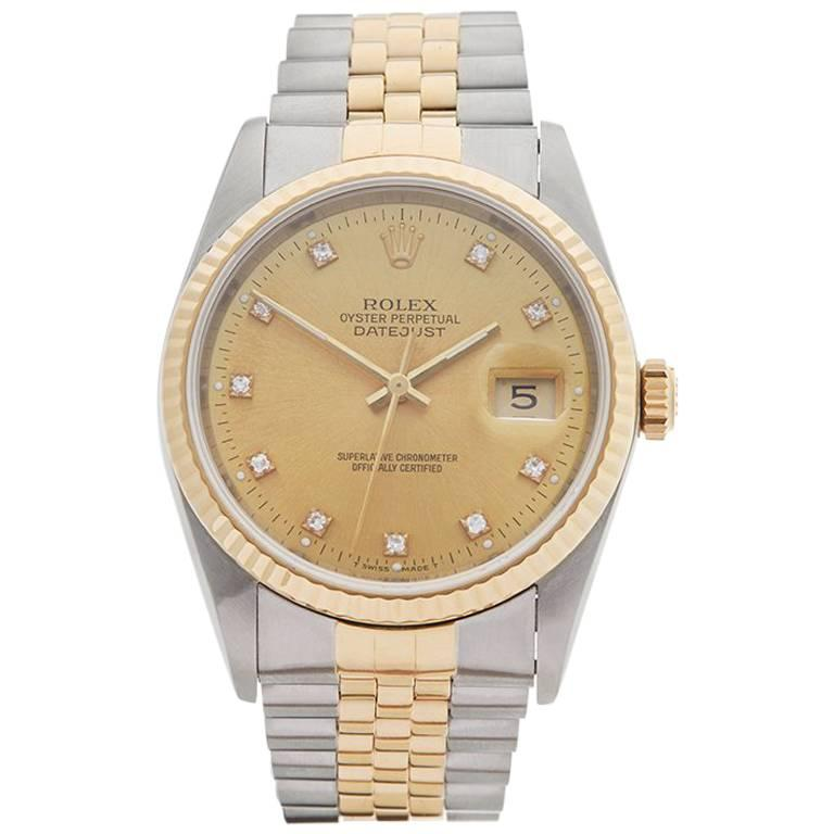 Rolex Yellow Gold Stainless Steel Datejust Automatic Wristwatch Ref 16233, 1991 For Sale