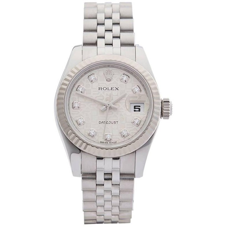 Rolex Ladies White Gold Stainless Steel Datejust Automatic Wristwatch, 2011 For Sale