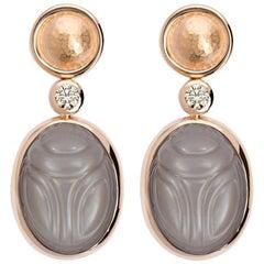 Moonstones Diamond Rose Gold Earrings