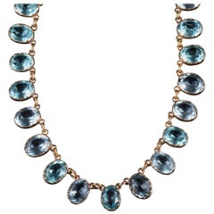 Antique Victorian Blue Aquamarine Paste Necklace Collar, circa 1880