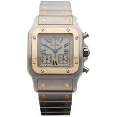 Cartier Yellow Gold Stainless Steel Santos Galbee Chronograph Quartz Wristwatch
