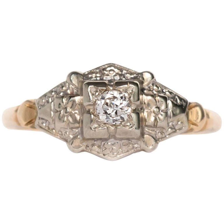 04 Carat Bands: .04 Carat Diamond Yellow Gold And White Gold Engagement