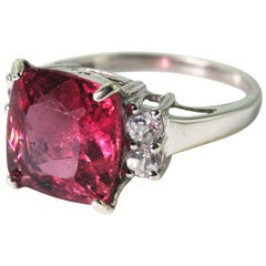 Gemjunky Spectacular 6.8 Ct Brasilian Rubelite Sterling Silver Cocktail Ring