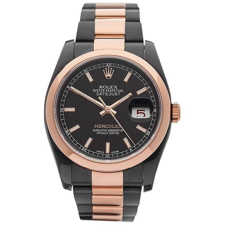 Rolex Rose Gold Stainless Steel Datejust Hercules Automatic Wristwatch For Sale
