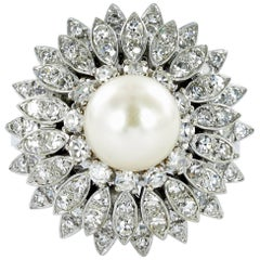 Akoya Cultured Pearl Diamond Ring