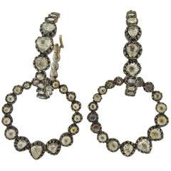 Rose Cut Diamond Silver Gold Circle Hoop Earrings