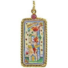 Enamel Tarot Card Pendant