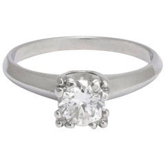 Vintage Platinum .57 Carat Brilliant Cut Diamond Solitaire