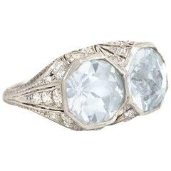 Art Deco Two-Stone Aquamarine Ring with Diamond-Set Platinum Mount