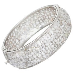 Bohemian Sterling Silver and Natural White Diamond Slice Cuff Bracelet