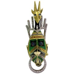 Magnificent Diamond Enamel Sapphire Moveable Tribal Mask Gold Platinum Pin