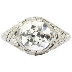 Art Deco Platinum 2.5 Carat Old European Cut Diamond Engagement Ring