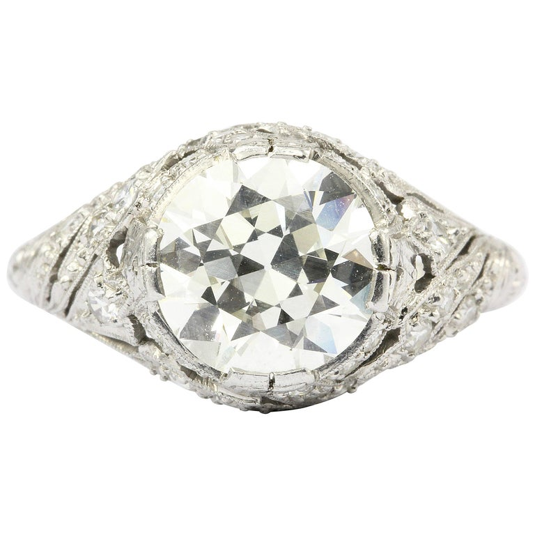 Art Deco Platinum 2.5 Carat Old European Cut Diamond Engagement Ring