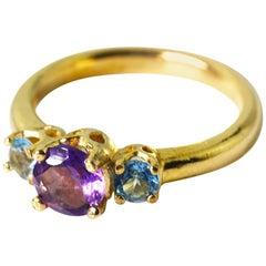 Gemjunky Gorgeous Petite .65 Carat Amethyst & Topaz 14 Kt Yellow Gold Ring
