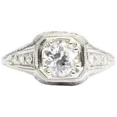 GIA Certified Art Deco Platinum Old European Cut Engagement Ring