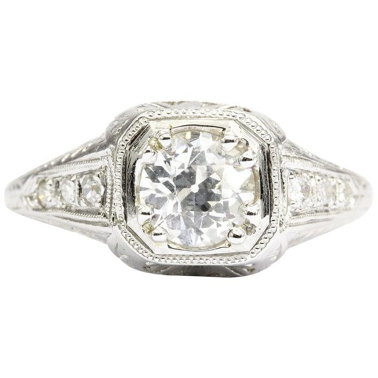 GIA Certified Art Deco Platinum Old European Cut Engagement Ring