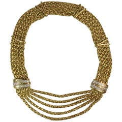 "Picchiotti 18 Karat Yellow Gold ""Bib Style"" Diamond Necklace"