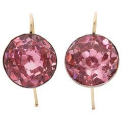 Foiled Pink Paste Georgian Earrings