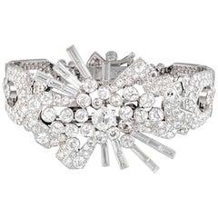 Art Deco Diamond and Platinum Bracelet Brooch Combination