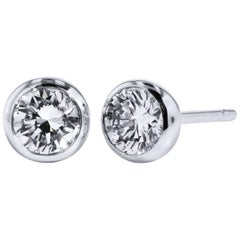 H & H 0.73 Carat Bezel-Set Diamond Stud Earrings