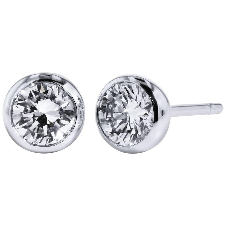 H 0 73 Carat Bezel Set Diamond Stud Earrings For