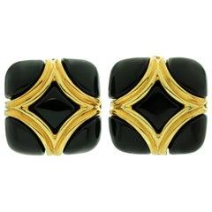 Van Cleef & Arpels Onyx Yellow Gold Clip-On Earrings