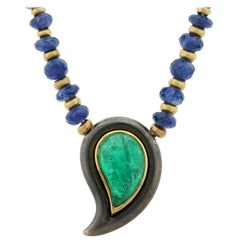 Poiray French Emerald Sapphire Gold Necklace
