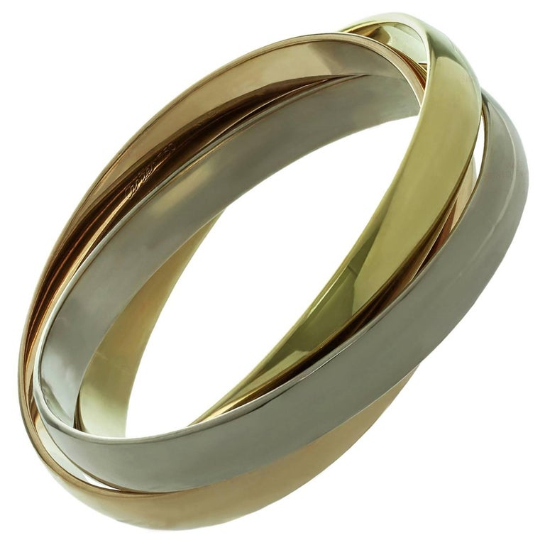 Cartier Trinity Tri-Gold Large Bangle Bracelet For Sale
