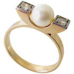 Elis Kauppi Diamond Pearl Gold Finnish Modernist Ring
