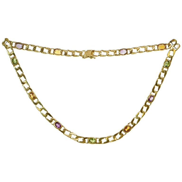 Multicolor Gemstone Yellow Gold Necklace