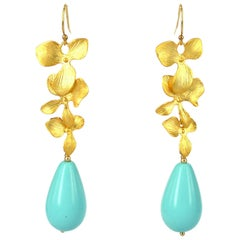 Decadent Jewels Orchid Turquoise Drop Gold Earrings
