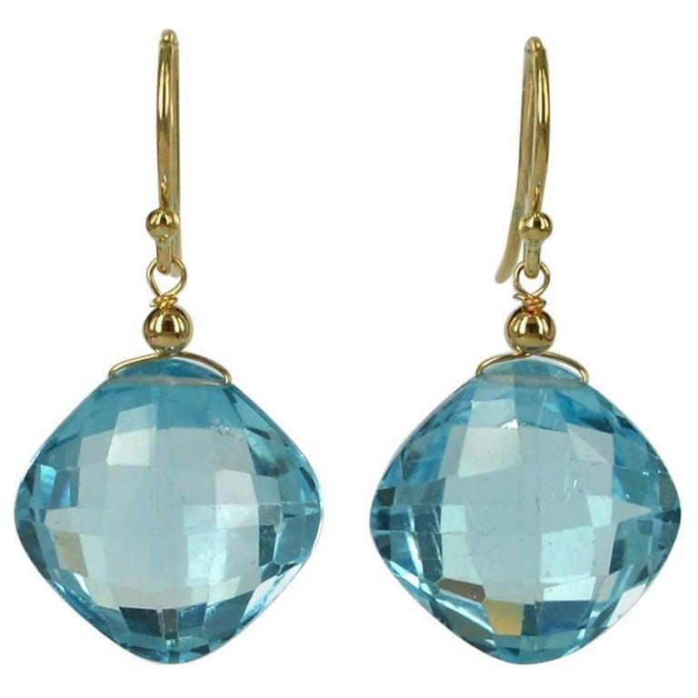Decadent Jewels Checker Board Cut Blue Topaz 14 Karat Gold Earrings