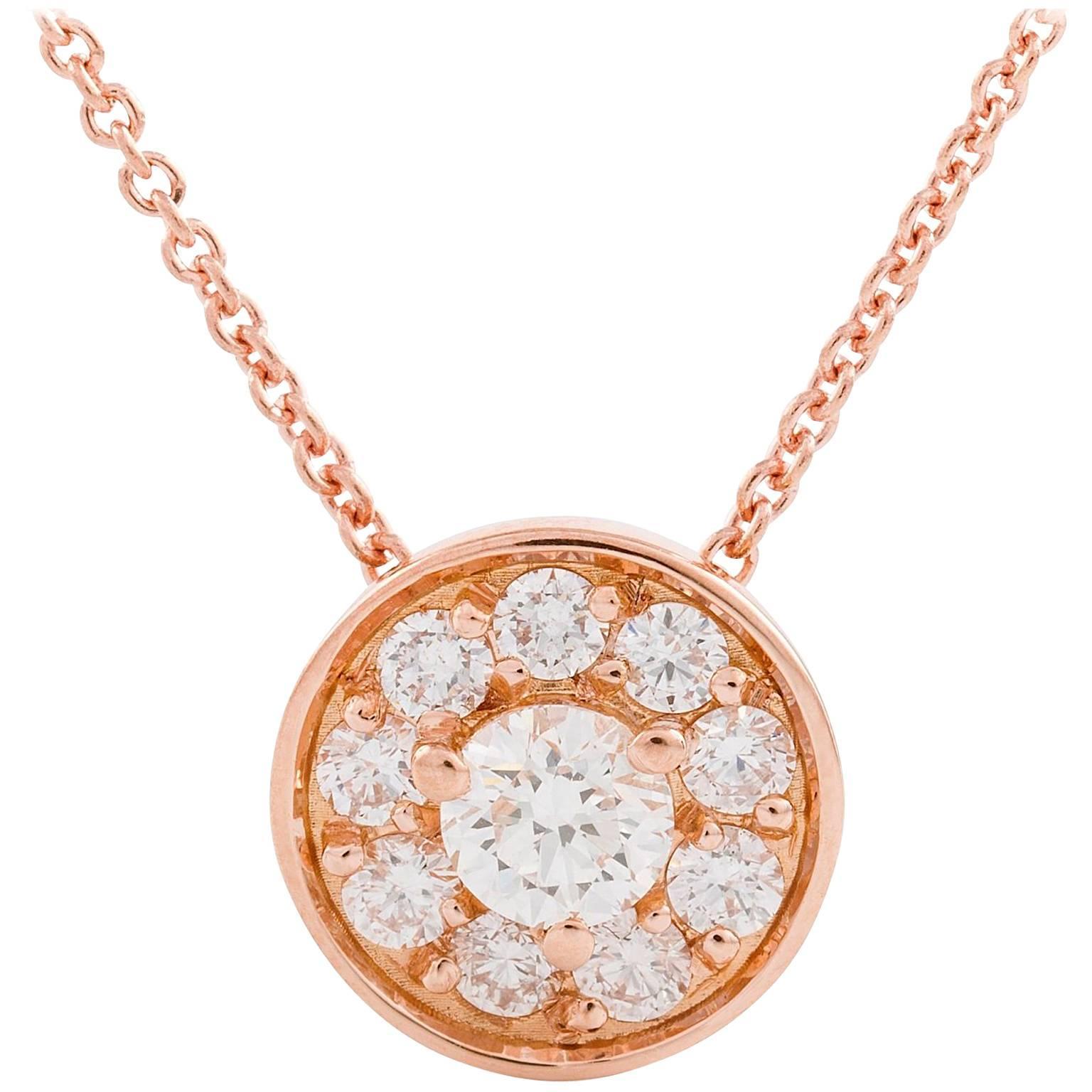 Kian Design 18 Carat Rose Gold Round Brilliant cut Halo Diamond Necklace