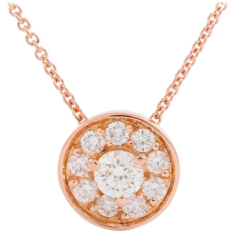 Kian Design 18 Carat Rose Gold Round Brilliant cut Halo Diamond Necklace For Sale