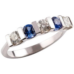 Kian Design 18 Carat White Gold Round Ceylon Sapphire and Diamond Ring