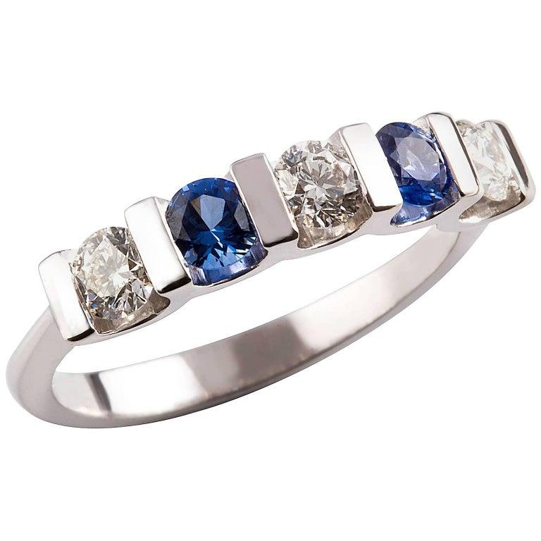 Kian Design 18 Carat White Gold Round Ceylon Sapphire and Diamond Ring