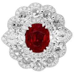 3.06 Carat Unheated Ruby and Diamonds Ring