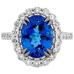 6.08 Carat Tanzanite and Diamonds Dress Ring