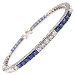 Cartier Diamond Sapphire Irid Platinum Line Tennis Bracelet