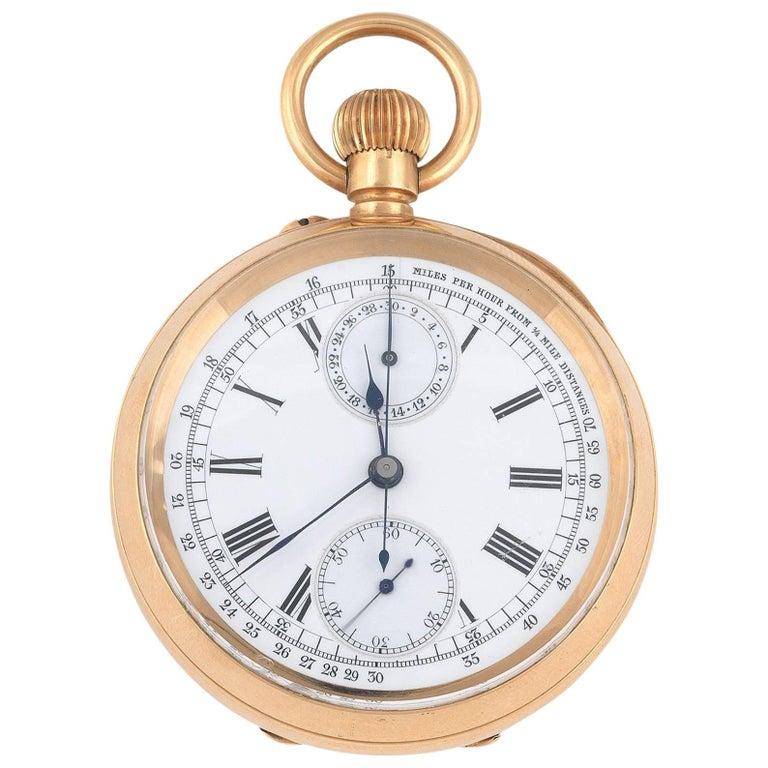 Swiss Gold Telemeter Open Face Chronograph Keyless Wind Pocket Watch, circa 1910