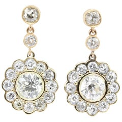 GIA Edwardian 5 Carat Old European Diamond Drop Earrings, circa 1900