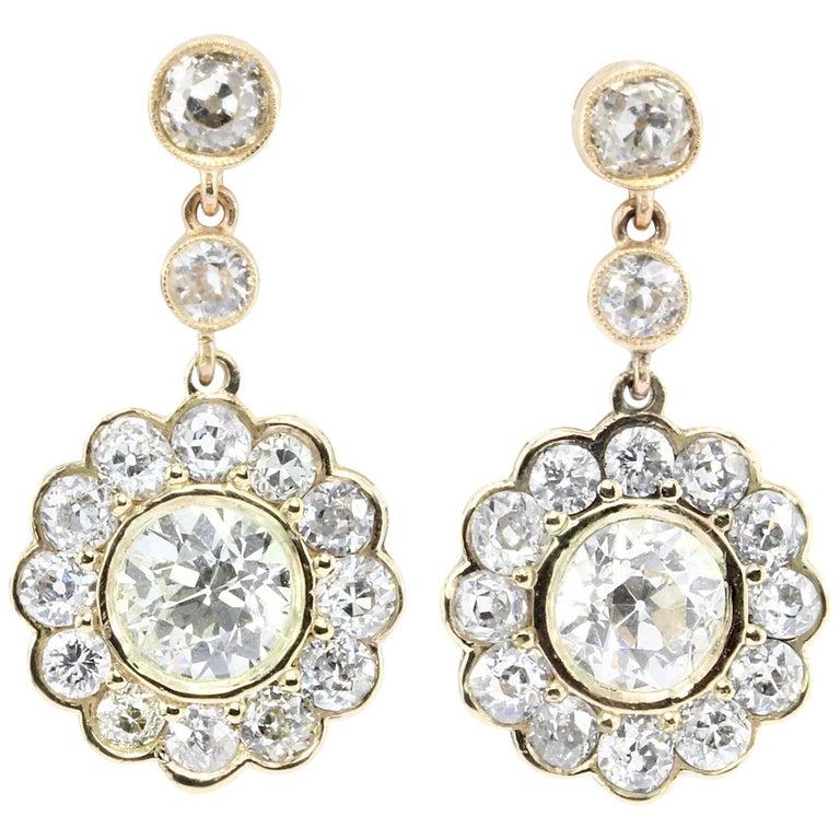 GIA Edwardian 5 Carat Old European Diamond Drop Earrings, circa 1900 For Sale