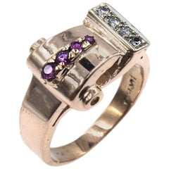Retro Rose Gold Diamond Ruby Buckle Ring