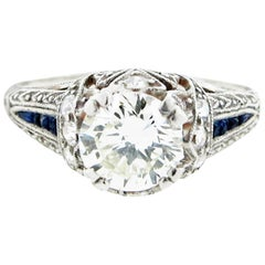 Park Place Antique Jewelry 1920 S Diamond And French Cut Sapphire Enement Ring