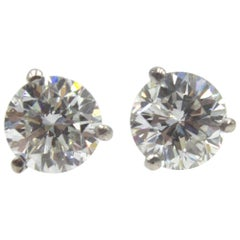 2.07 Carat Total Weight Diamond Stud Earrings GIA Certified Diamonds