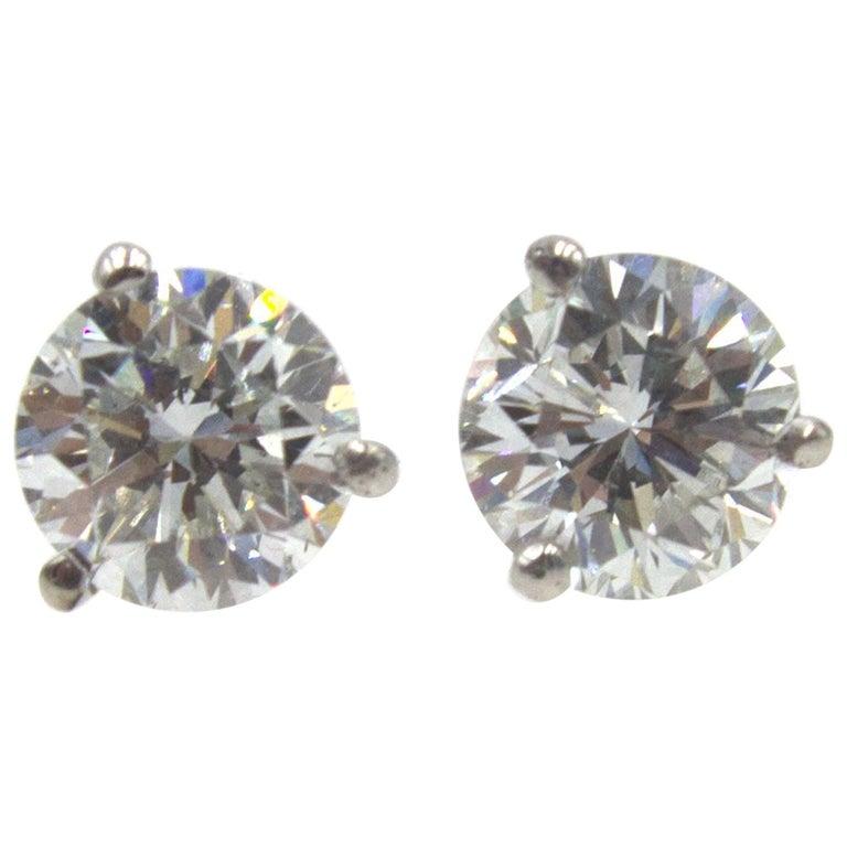 2 07 Carat Total Weight Diamond Stud Earrings Gia Certified Diamonds For