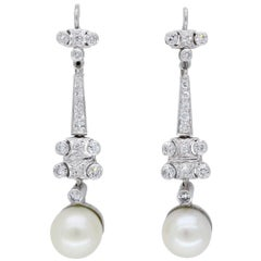 18 Karat White Gold Diamond and Pearl Drop Earrings