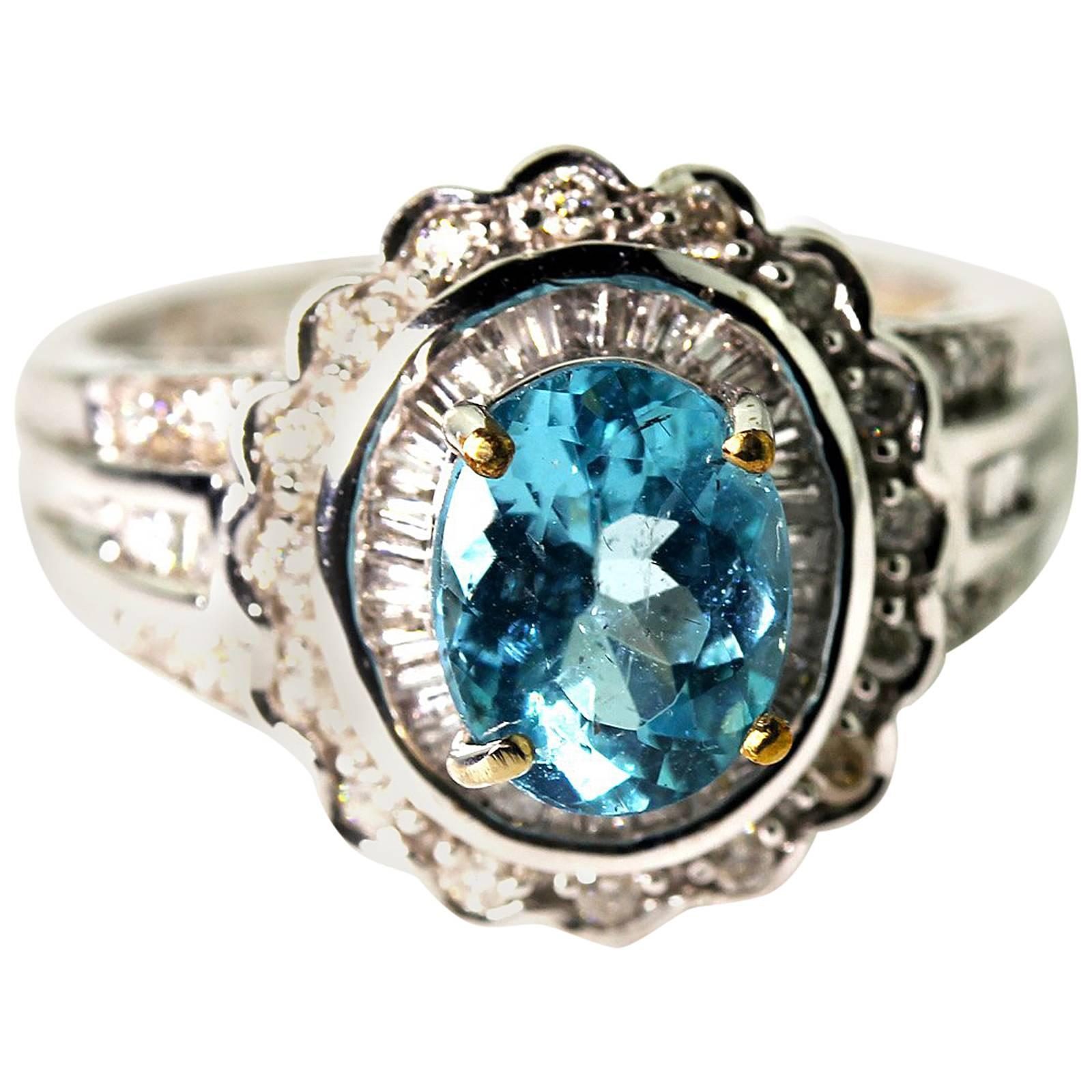 Gemjunky Lovely Petite 1.3 Ct Oval Blue Apatite & Diamond 10KT Gold Ring