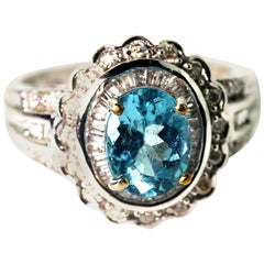 1.3 Carat Blue Apatite and Diamond 10KT Gold Party Ring